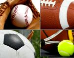 Sports Collage: Soccer Ball, Tennis Ball/Racket, Basketball, Football, Baseball/Glove